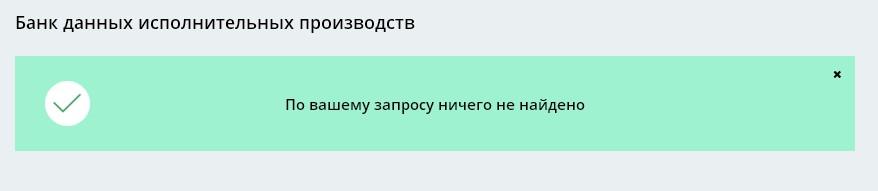 Если информации о штрафах не имеется, появится оповещение: «По вашему запросу ничего не найдено».